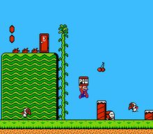 What a weird, awesome game. I remember reading somewhere about how this game was designed with different characters but Nintendo decided to change the sprites and make it Mario 2. Which explains its weirdness.