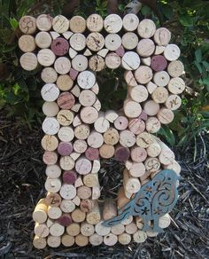Whimsical Wine Cork Monogram Letter Initial Home Decor Mantle or Wall Art