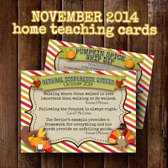 November 2014 LDS Home Teaching Cards 3.5x5 by bowpeepcreations Paper Goods  print  digital  printable  download  card  visit teach  visiting teaching  relief society  lds  home teaching home teach  November  Thanksgiving
