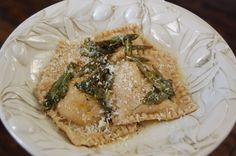 Homemade Butternut Squash Ravioli- pretty fussy, but sounds delicious.  A weekend dinner for sure.  :)