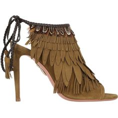 Aquazzura Women 105mm Pocahontas Fringed Suede Boots (1,060,240 KRW) ❤ liked on Polyvore featuring shoes, boots, military green, high heeled footwear, suede fringe boots, open-toe boots, olive green boots and fringe boots