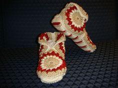 Free Ravelry: Hexagon Boot Slippers pattern by Priscilla Hewitt Crochet Boots, Crochet Slippers, Granny Square Slippers, Free Crochet, Knit Crochet, Easy Crochet, Crochet Leg Warmers, Slipper Boots, Crochet Accessories