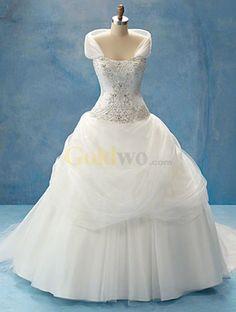 Disney Fairy Tale Weddings Style Shrug Strapless Satin Tulle Wedding Dress - US$268.99 - Goldwo.com