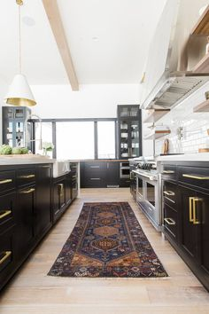 Colorful floor runner rug in modern kitchen