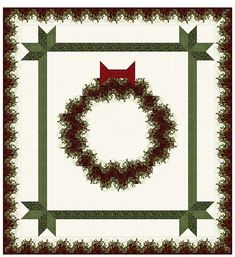 "Festive Wreath Quilt Kit.  Features Festive Season 2 fabrics for Benartex.   Finished quilt measures 78"" x 84"""