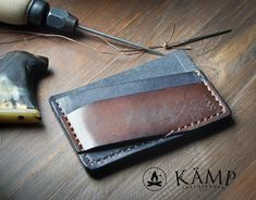 Leather credit card holder / wallet by KampLeatherwork on Etsy