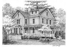 Black and White House Sketch - perfect for a Tea Room!