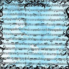 Grungy blue sheet music.