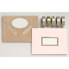 Add glitz and glam to wedding place cards, favor boxes and more with our elegant gold metallic washi tape set. Each roll has a unique design, from intricate lace to delicate florals, stripes and chevr Stationery Brands, Wedding Stationery, Washi Tape Set, Office Supply Organization, Mailing Envelopes, Gift Labels, Paper Source, Wedding Place Cards, Scrapbook Supplies