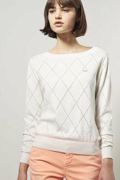 Lacoste L!ve Long Sleeve Diamond Pointelle Sweater : Sweaters