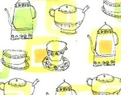 """Custom & Decorative {.5"""" to 1"""" Inch} 42 Piece Pack of Mid-Size Stickers for Arts, Crafts & Scrapbooking w/ Cartoon Little Vintage Pastel Tea Pots & Cups Spouts Handles For Tea {Yellow, Green, & White}"""
