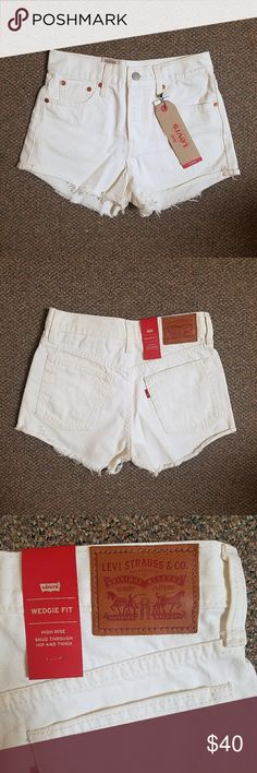 """Levi's White High Waisted Wedgie Fit Shorts Levi's White High Waisted Wedgie Fit Shorts BRAND NEW with tags!  This stylish pair of high waisted Levi's is accented with a frayed and rolled hemline--revealing inspiration towards vintage fashion with its hip hugging form.  -Material: 100% cotton -Color: white -Rise: 10.5"""" -Inseam: 3"""" -4 button fly -5-pocket Levi's Shorts Jean Shorts"""