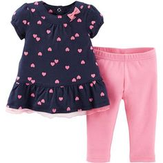 Child of Mine by Carter's Newborn Girl Tunic and Leggings Outfit Set - Walmart.com $7.94