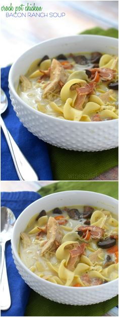 Crock Pot Chicken Bacon Ranch Soup that will make your house smell amazing and make for a really easy weeknight