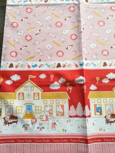 Items similar to Vintage style red cute cartoon, Fabric made in Japan on Etsy Vintage Style, Vintage Fashion, Cute Cartoon, Cotton Fabric, Etsy Shop, Japan, Quilts, Play, Blanket