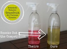 Natural Homemaking - Grapefruit All-Purpose Cleaner - Five Little Homesteaders More great DIY natural cleaners on this round-up post by Homemade Cleaning Supplies, Cleaning Recipes, Cleaning Hacks, Homemade Products, Cleaning Solutions, Diy Cleaners, Cleaners Homemade, Chemical Free Cleaning, Natural Cleaning Products