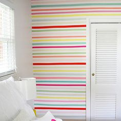 Spruce up a bland wall with colorful tape: | 22 Ideas To Decorate Your House: Easy, Beautiful, And Cheap