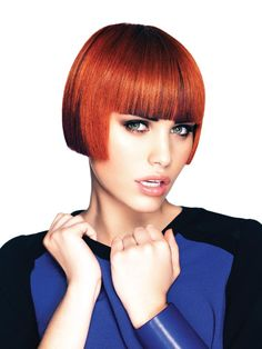 Colorful Emotions by Craig Smith for Alter Ego Bobbed Hairstyles With Fringe, Short Hair With Bangs, Retro Hairstyles, Short Bob Hairstyles, Short Hair Styles, Hair Bangs, Alter Ego, One Length Bobs, Pixie