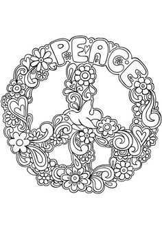☮ American Hippie ☮ Coloring Page Zentangle Art .. Peace Sign