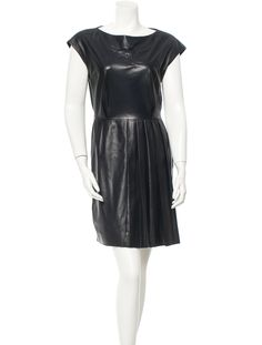 Navy leather Christian Dior sleeveless dress with pleating at skirt and side zip closure.