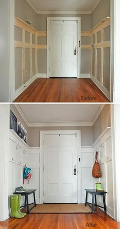 Great sprucing up the back entrance/mudroom. how to and lots of ideas/designs                                                                                                                                                                                 More