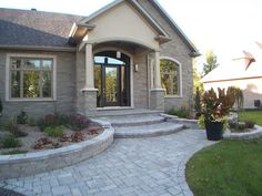 Mesmerizing Front Stone Entrance Ideas for Historical Home Facade : Appealing Home Architecture Design Ideas With Pavers Deck Driveway And Modular Round Staircase And Small Porch Along With Huge Potted Houseplant House Front Door, House With Porch, House Entrance, Main Entrance, Front Door Design, Entrance Design, Entrance Ideas, Front Porch Steps, Deco