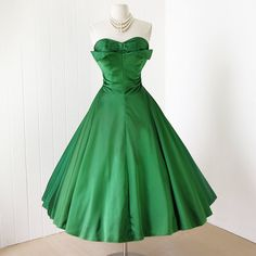 vintage 1950's dress ...gorgeous decadent EMERALD satin pleated PETAL BUST full circle skirt bustle back pin-up party prom dress