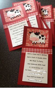 SET OF 12, Custom Party Invitations, Farm Birthday Party, Barnyard Party. $23.00, via Etsy.
