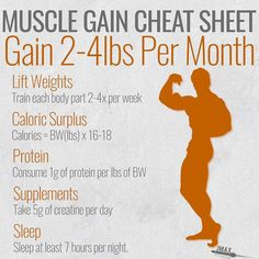 MUSCLE GAIN CHEAT SHEET - Theres a simple formula to build muscle: WEIGHTS CALORIES PROTEIN SLEEP SUPPLEMENTS = MUSCLE GAIN (although you can build muscle without supplements they will definitely help optimize your muscle growth. - Lift Weights.Train each body part 2-4 times per week.Higher frequency builds muscle.Upper lower splits and full body workouts are your friend if you are a natural lifter. - Caloric Surplus and Protein. You build muscle brick by brick. In order for your body to…
