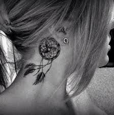 tiny bird tattoos on female neck - Google Search Like the 'flow & movement' this dream-catcher has!