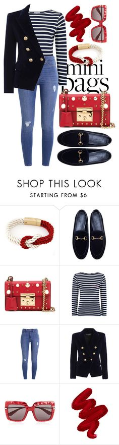"""""""M I N I   B A G S"""" by miakrtinic ❤ liked on Polyvore featuring WithChic, Gucci, Maison Labiche, Hollister Co., Balmain, Dolce&Gabbana and Obsessive Compulsive Cosmetics"""