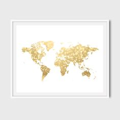Diy world map wall art that is easy to make and unique simple diy 30x40 16x20 8x10 gold world map art print gold glitter printable map white and gold map poster gold world map print gold wall art digital gumiabroncs Choice Image