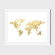 30x40 16x20 8x10 Gold world map art print Gold by YourLittlePoster