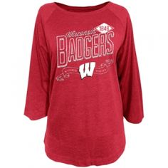 14 Youth Large NCAA Wisconsin Badgers Youth Girls Short Sleeve Dolman Tee Dark Red