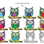 This clip art of 12 wise owls is colorful and full of personality! Feel free to use these to embellish your personal and commercial projects. When...