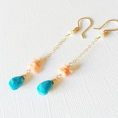 Earrings Sora - Coral earrings - turquoise and coral drop earrings - beach jewelry - turquoise earrings Dainty Earrings, Turquoise Earrings, Gemstone Earrings, Beaded Earrings, Earrings Handmade, Handmade Jewelry, Drop Earrings, Jewelry For Her, Beach Jewelry