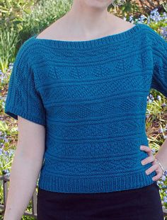 Free Knitting Pattern for The Great Gansey Top - This pullover tee features a Gansey pattern that's just a12-stitch repeatwith welts as resting rows. Designed byKalliopi Aronis. Women's XS, S, M, L, 1X, 2X, 3X