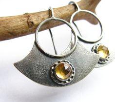 Contemporary Citrine Earrings   Metalsmith Jewelry  by Mocahete, $140.00