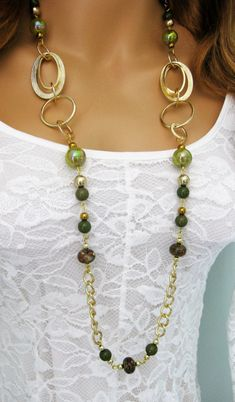 Long Green and Gold Beaded Necklace, Green Beaded Necklace, Green Necklace, Green and Gold Necklace, Gold Chain Necklace, N-839