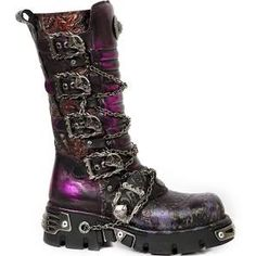M.1013-CZ69 Metallic Purple & Red New Rock Boots with Chains Size 14