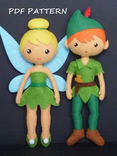 PDF sewing pattern to make a felt Fairy and a felt Peter Pan about 9 inches tall. It is not a finished dolls. Includes tutorial with pictures and step by
