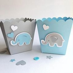 Blue Gray Elephant Favor Boxes Boy Baby Shower Decorations Elephant 1 st Birthday Decor Popcorn Paper Party Blue Gray Containers #decoracionbabyshowerboy