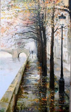 Painting by Russian artist Gleb Goloubetski Art Watercolor, Watercolor Landscape, Landscape Paintings, Landscapes, Abstract Landscape, Art Expo, Art Amour, Fine Art, Beautiful Paintings