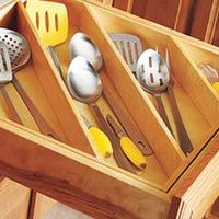 Maximize kitchen drawer space by storing diagonally
