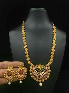One gram gold designer necklace sets 1 Gram Gold Jewellery, 18k Gold Jewelry, Gold Jewellery Design, Jewelery, Gold Earrings Designs, Necklace Designs, Gold Designs, Antique Earrings, Simple Jewelry