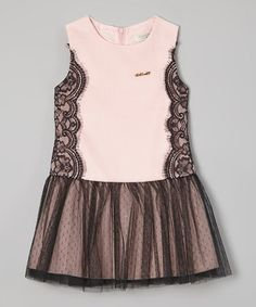 Look at this #zulilyfind! Pink & Black Lace Tulle Drop-Waist Dress - Toddler & Girls by Richie House #zulilyfinds