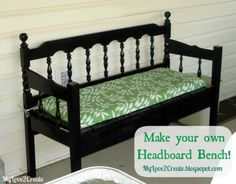 DIY Furniture / DIY Headboard Bench, or loving referred to as the Puzzle Bench - CotCozy Headboard Redo, Make Your Own Headboard, Headboard Benches, Headboard And Footboard, Headboards For Beds, Headboard Ideas, Diy Furniture Redo, Repurposed Furniture, Handmade Furniture