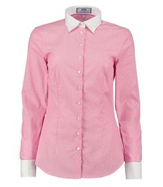 Women's Pink Dobby Fitted Shirt With Contrast Collar & Cuff - Double Cuff