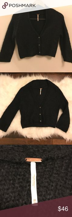 Free People mohair cardigan sweater So very soft! Mohair, nylon, acrylic blend. Cropped with three buttons. EUC Free People Sweaters Cardigans