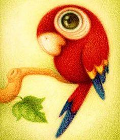 Dibujo de un loro o guacamayo (Título: Guara roja, Autor: Faboarts)